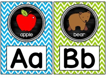 Alphabet Posters- Bright Chevron and Chalkboard