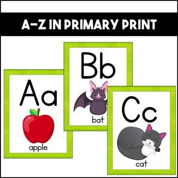 Alphabet Posters: Bright Green   Classroom Decor