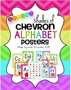 Alphabet Posters - Bright Shades of Chevron