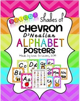 Alphabet Posters - Bright Shades of Chevron - D'Nealian Manuscript