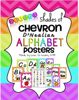 Alphabet Posters - Bright Shades of Chevron - D'Nealian Manuscript