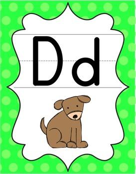 Alphabet Posters - Bright Shades of Polka Dot