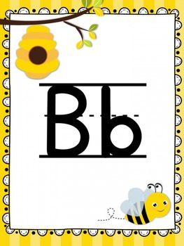 Alphabet Posters {Bright Stripes and Buzzing Bee Themes}