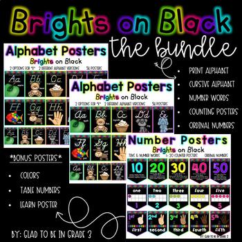 Alphabet Posters ~ Brights on Black Bundle {D'Nealian Prin