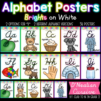 Alphabet Posters ~ Brights on White {D'Nealian Cursive}