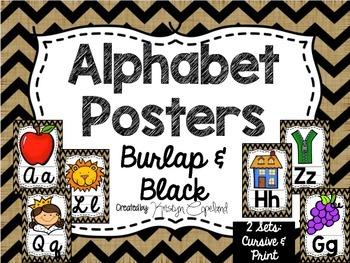 Alphabet Posters: Burlap & Black Chevron
