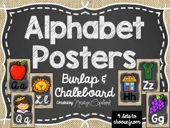 Burlap & Chalkboard Alphabet