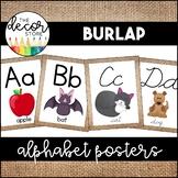 Alphabet Posters: Burlap   Classroom Decor