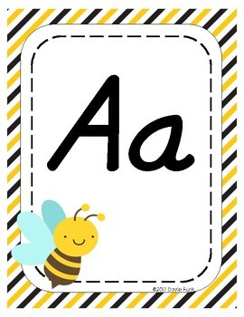 #roomdecor Alphabet Posters - Busy Bees - Primary Italics