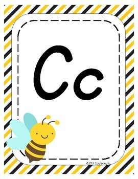 Classroom Decor Alphabet Posters - Busy Bees - Primary Italics
