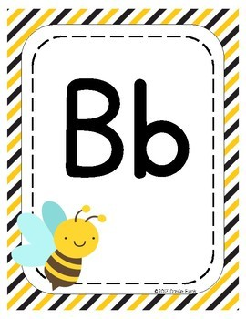 Classroom Decor Alphabet Posters - Busy Bees - Primary Manuscript