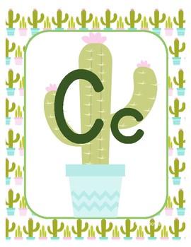 #roomdecor Classroom Decor Alphabet Posters - Cute Cactus - Primary Manuscript