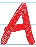 Alphabet Posters | Capital Letters Scribble Font in Red, B