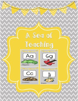 Alphabet Posters/Card (yellow and gray)