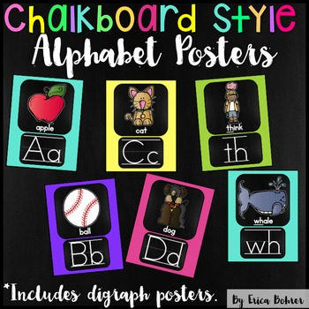 Alphabet Posters: Chalkboard Brights