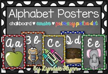 Alphabet Posters | Chalkboard | Cursive | Primary Dots