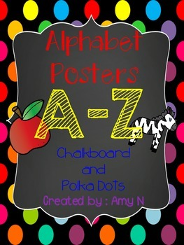 Alphabet Posters (Chalkboard and Polka Dot Themed