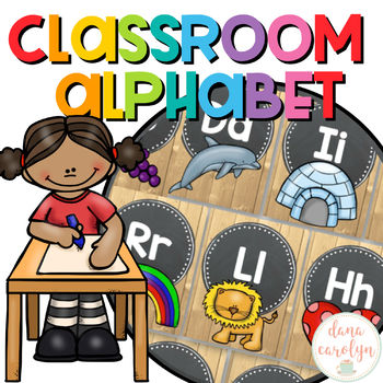 Alphabet Posters {Chalkboard and Wood Classroom Theme}