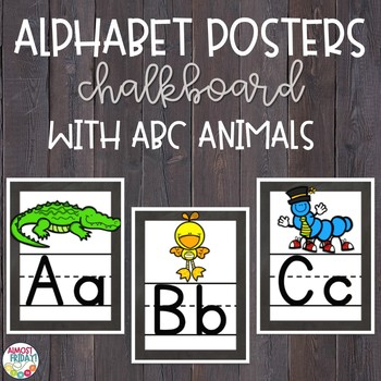 Alphabet Posters Chalkboard with ABC Animals