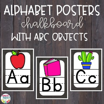 Alphabet Posters Chalkboard with ABC Objects