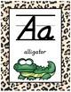 Classroom Decor Alphabet Posters - Cheetah Print - Animals - Italics
