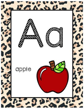 #roomdecor Classroom Decor Alphabet Posters - Cheetah Print - With Picture Clues