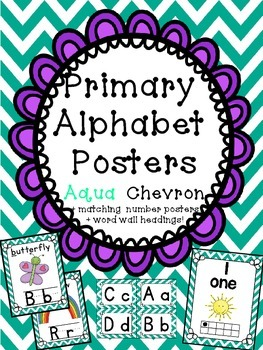 Alphabet Posters with matching number posters Word Wall Headings! Chevron Aqua