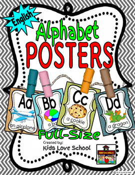 Alphabet Posters-Chevron ENGLISH Version with Picture and Words