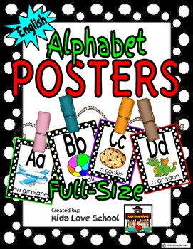 Alphabet Posters-Blk and White Polka Dots ENGLISH Version with Picture and Words