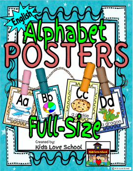 Alphabet Posters-Multi Colored ENGLISH Version with Picture and Words