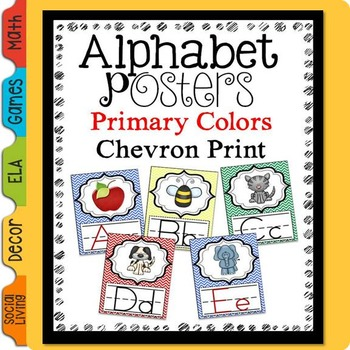 Alphabet Posters Chevron Primary Colors
