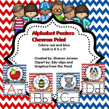 Chevron Print Alphabet Posters (Red and Blue)