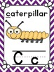 Alphabet Posters + matching number posters + word wall headings! Chevron purple