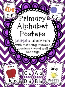 Alphabet Posters + matching number posters + word wall hea