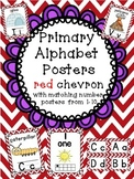 Alphabet Posters + matching number and word wall heading posters Chevron red