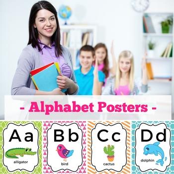 Alphabet Poster Bright, Alphabet Poster Chevron, Alphabet Poster Print & Cursive