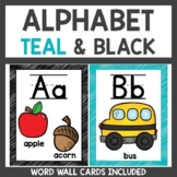 Alphabet Posters Classroom Decor Black and Teal