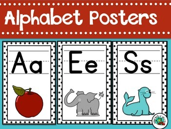 Alphabet Posters Classroom Decor Black and White