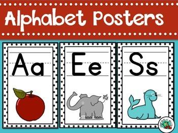 Alphabet Posters Classroom Decor Black and White
