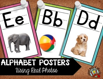 Alphabet Posters Classroom Decor /Using Real Photos/ Pink, Green, Teal