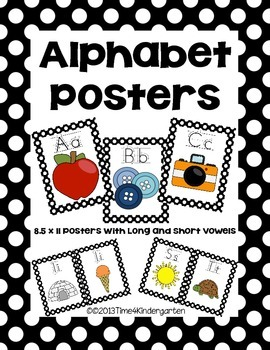 Alphabet Posters Classroom Pack-Black and White Polka Dot