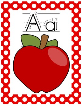 Alphabet Posters Classroom Pack-Red and White Polka Dot