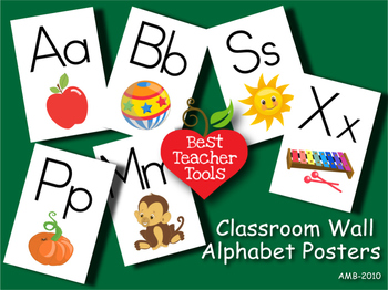 Alphabet Posters, Classroom Wall Poster, Letters and images, Printable, AMB-1010