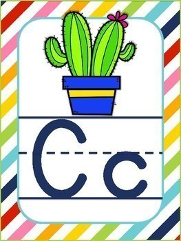 Alphabet Posters Colorful Stripes with ABC Objects