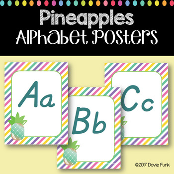 #roomdecor Alphabet Posters - Colorful Pineapples - Primary Italics