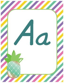 Classroom Decor Alphabet Posters - Colorful Pineapples - Italics
