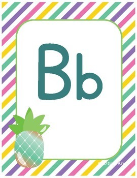 Classroom Decor Alphabet Posters - Colorful Pineapples