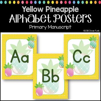 #roomdecor Classroom Decor Alphabet Posters - Pineapples - Primary Manuscript