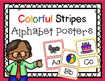 Alphabet Posters: Colorful Stripes