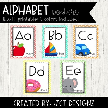 Alphabet Posters: Coral, Teal, Green, Orange, Yellow